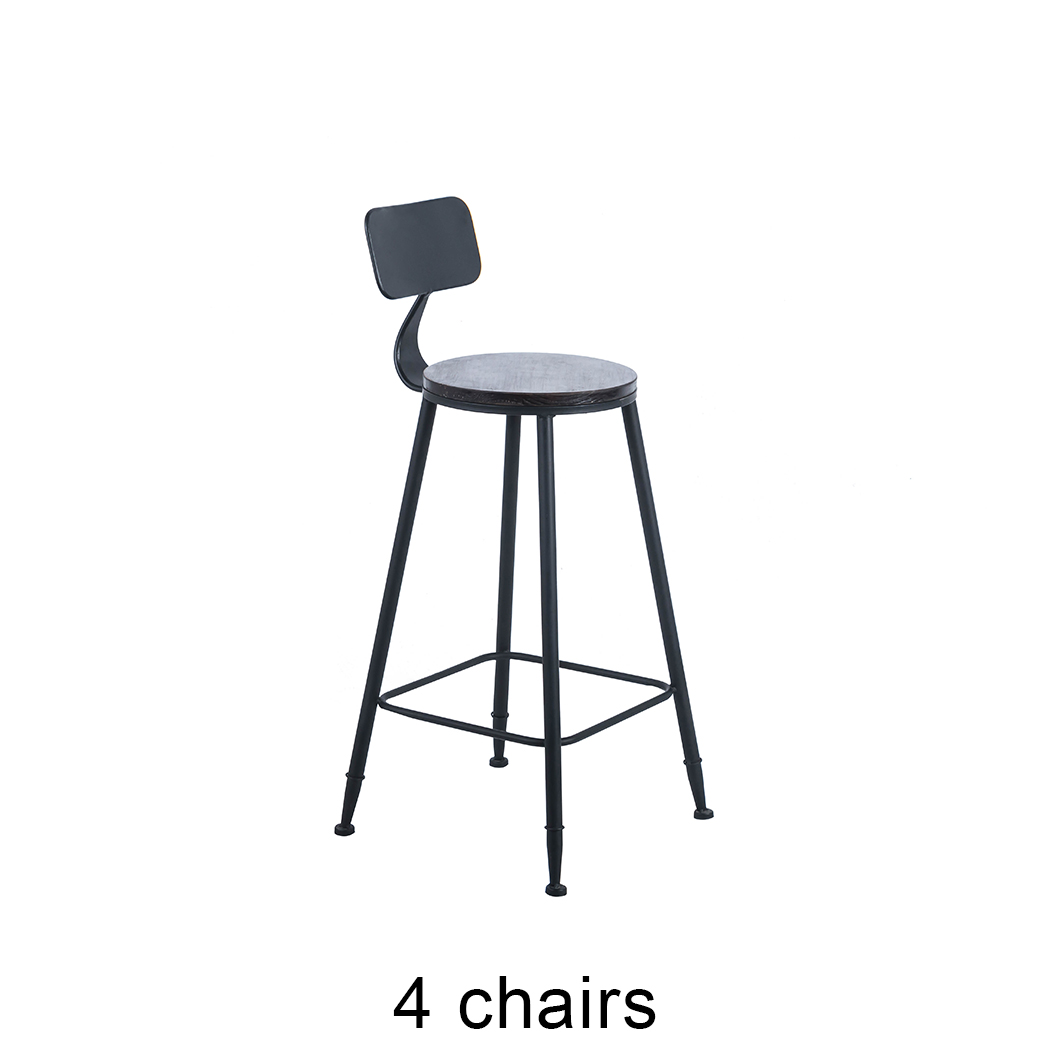 2/4PCS Bar StoolContemporary Stunning Look Solid Wood CounterBackrest High Bar Stool For Kitchen Home Anti Slip Floor Protector