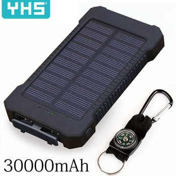 Solar Power Bank Waterproof 30000mAh Solar Charger 2 USB Ports External Charger Powerbank for Xiaomi Smartphone with LED Light 1