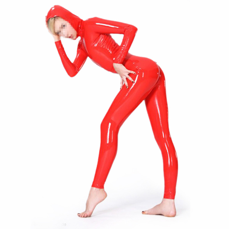 Red Women Latex Rubber Hoodie Catsuit Female Latex Fetish Suit Party Sexy Costume Bodysuit S-LC343(China)