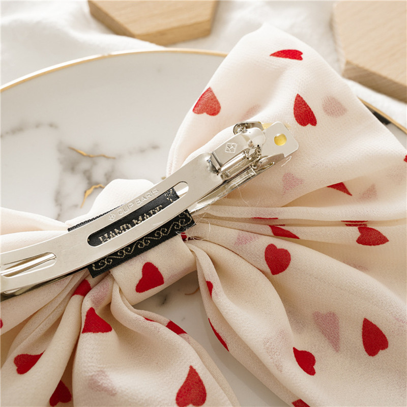 New Fashion Big Large Barrette Two Levels Chiffon Hair Bow Love Heart Hair Clip For Women Girls Hairgrips Sweet Hair Accessories in Women 39 s Hair Accessories from Apparel Accessories