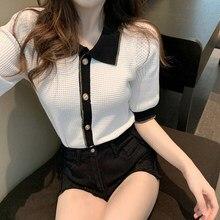 Top Polo-Collar Short-Sleeve Ladies Fashion Summer Knitwear Han Ice-Silk Thin Contrast-Color