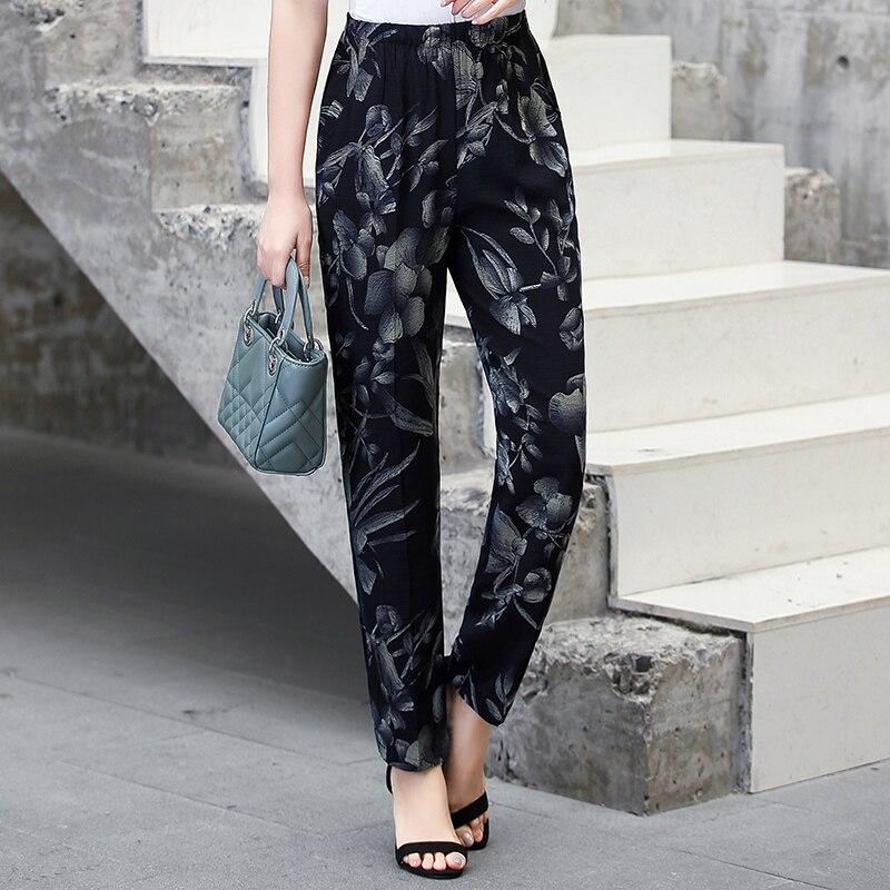 22 Colors 2020 Women Summer Casual Pencil Pants XL-5XL Plus Size High Waist Pants Printed Elastic Waist Middle Aged Women Pants 18