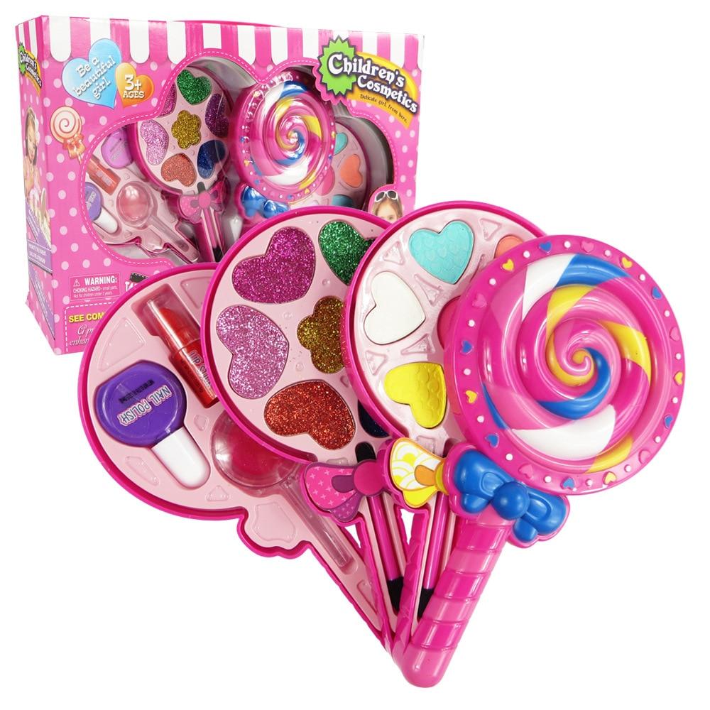 Kids Makeup Box Set Toys Lollipop Dressing Cosmetics Girls Toy Plastic Safety Beauty Pretend Play Children Makeup Girl Game Gift