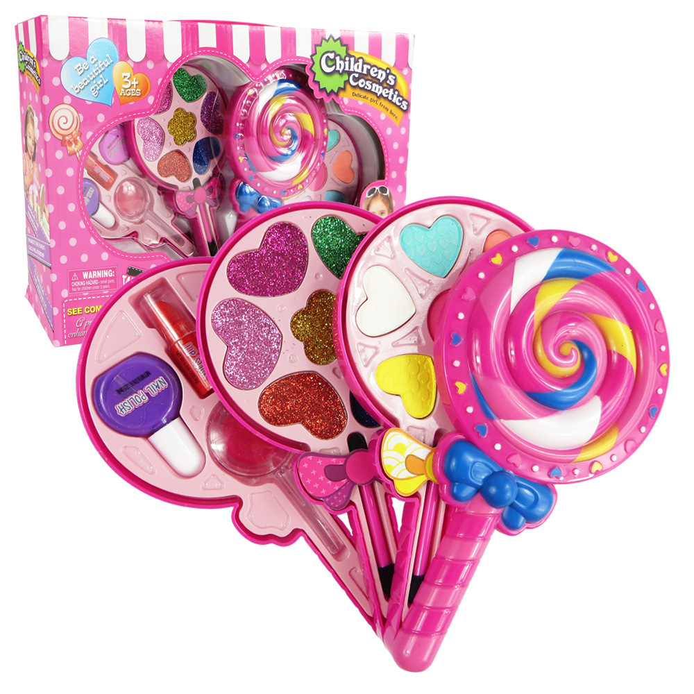 Kids Makeup Box Set Toys Lollipop Dressing Cosmetics Girls Toy Plastic Safety Beauty Pretend Play Children Makeup Girl Game Gift image