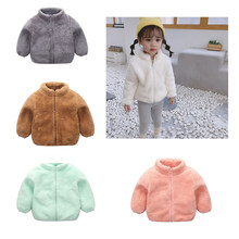 Winter New Girls Plush Warm Coat Fleece Warm Pageant Party Warm Jacket Snowsuit 1-5Y Baby Zip Up Coat Outerwear Kid Clothes(China)