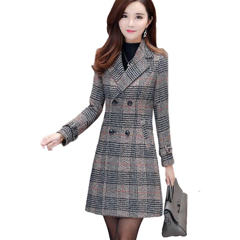 Повседневное женское Шерстяное Пальто, Тренч в клетку, зимняя женская элегантная верхняя одежда, двубортное длинное шерстяное пальто