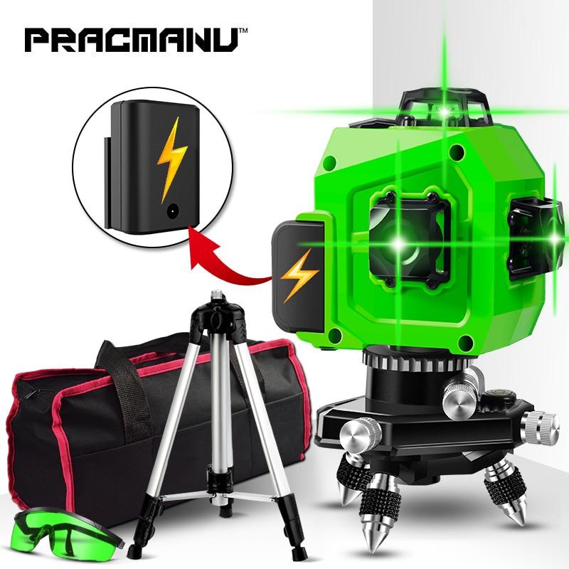 Niveau Laser PRACMANU vert 12 lignes niveau 3D auto-nivelant 360 Horizontal et Vertical croix Super puissant niveau Laser vert