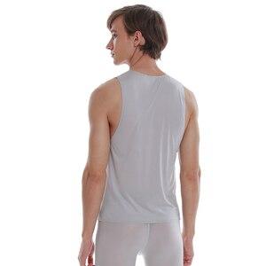 Image 2 - Asiaskin 남자의 얼음 실크, 울트라 얇은, 넓은 어깨 조끼, 아니 마크, 아니 가장자리, 섹시 민소매 s022bk.