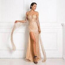 זהב נצץ סלאש צוואר המפלגה מקסי שמלה ללא משענת חלולה החוצה פיצול רגל רצפת אורך אבוקה שרוול נצנצים אלגנטי שמלה