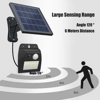 LED Solar Wall Lamp Motion Sensor Outdoor Light Split Installation Waterproof IP65 Pathway Gate Light Durable Wall LED lamp