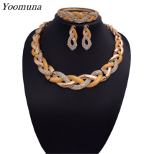 2019Fashion dubai Jewelry Sets ethiopian bridal Wedding sets  Simple Drop Necklace jewellery for Women