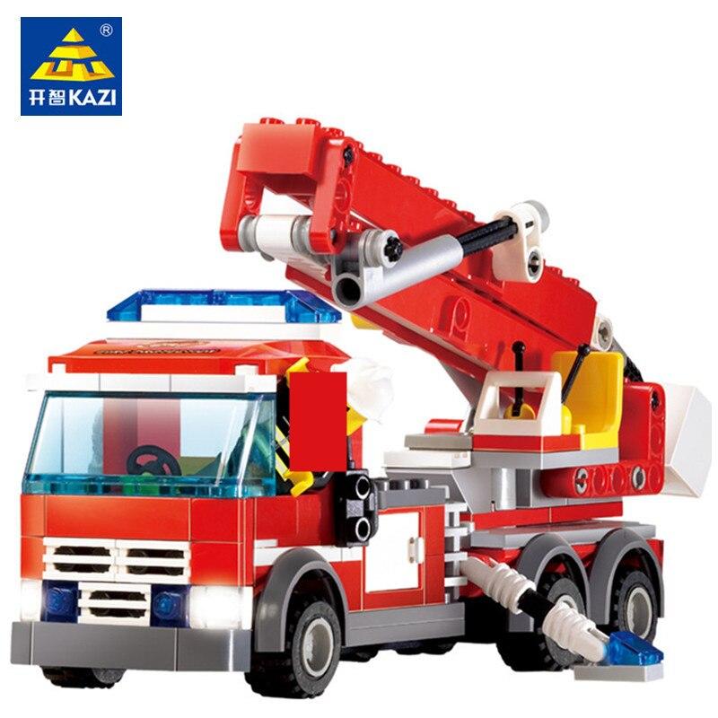 244 шт., городская противопожарная модель грузового автомобиля, набор кирпичей, наборы строительных блоков, фигурки пожарных, развивающие иг...