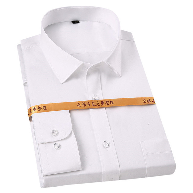 Solid plain 100% cotton long sleeved men dress shirts square collar non-iron wrinkle resistant easy care soft tops for business