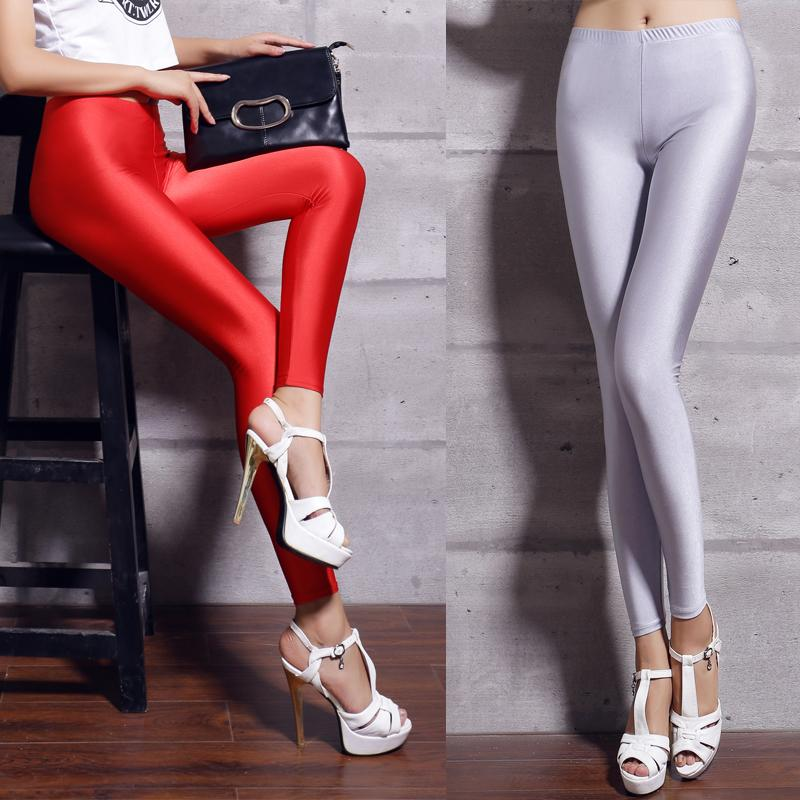High Waist Shiny Leggins Women Casual Leggings Black Elasticity Slim Solid Female Simple Woman Push Up Plus Size Legging