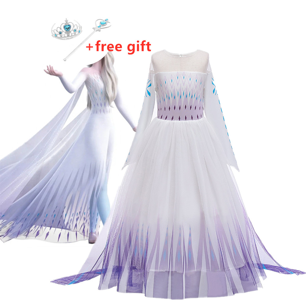 New Cosplay Princess Girl Dresses 2 Elsa Anna Dresses For Girls Festival Party Girls Dress Snow Queen Fantasy Baby Costume