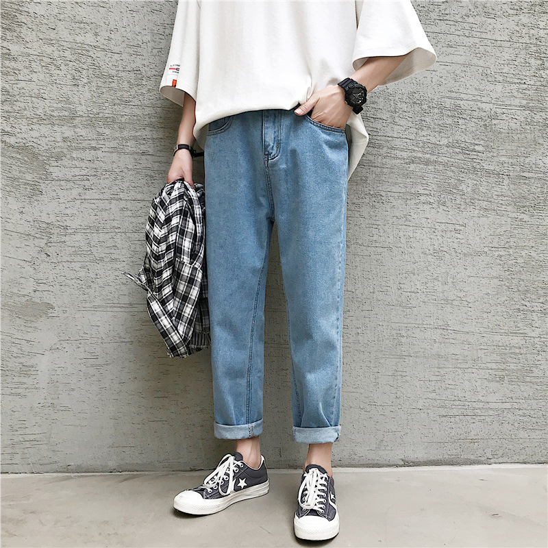 Summer New Style Straight-Cut Cowboy Pants Loose-Fit Korean-style Popular Brand Loose Pants Hong Kong Style Capri Casual Pants