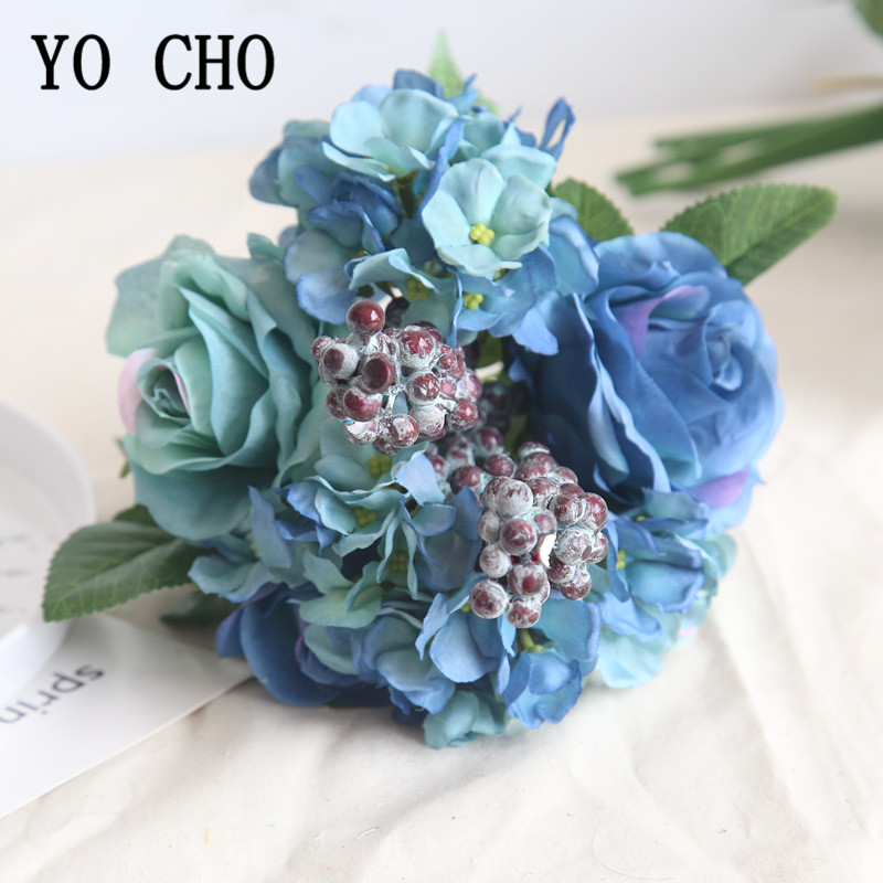 YO CHO Wedding Bouquet Silk Rose Hydrangea Flower Artificial Fake Rose Bridesmaids Blue Flower Home Party Wedding Table Decor