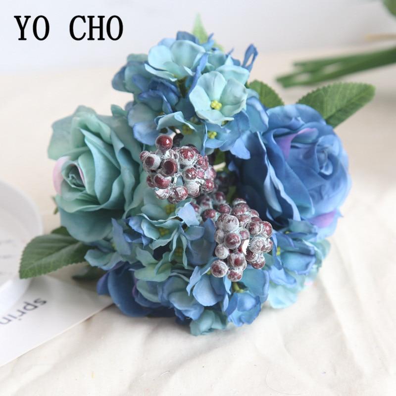 YO CHO Wedding Bouquet Silk Rose Hydrangea Flower Artificial Fake Rose Bridesmaids Blue Flower Home Party Wedding Table Decor