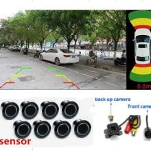 New OPS System Parktronics Car Parking Sensor 8 Alarm Probe video System option with front Rear view Camera  to Car DVD Monitor