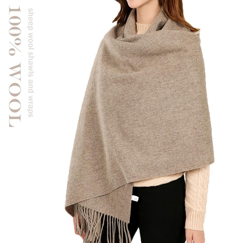 100% Wool Shawls And Wraps Women Cashmere Oversized Wool Pashmina 2019 Winter Autumn Ladies Soft Warm Sheep Woolen Blanket Scarf