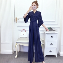 New arrival Women Clubwear V-neck Striped  wide leg Jumpsuit