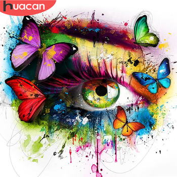 HUACAN Diy Diamond Painting 5D Eye Butterfly Full Square/round Embroidery Flowers Mosaic Room Decor - discount item  30% OFF Arts,Crafts & Sewing