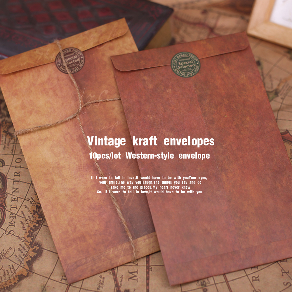 10pcs/lot Retro Kraft Envelope Set Creative Business  Envelopes  Vintage  Wedding  Paper  Mail Invitation Scrapbooking Gift