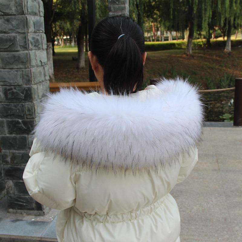 Faux Raccoon Fur Collar Winter Down Coat Fur Collar Big Size Mulitcolor Striped Fake Fox Fur Collar Wide Soft Fluffy Fur Scarves