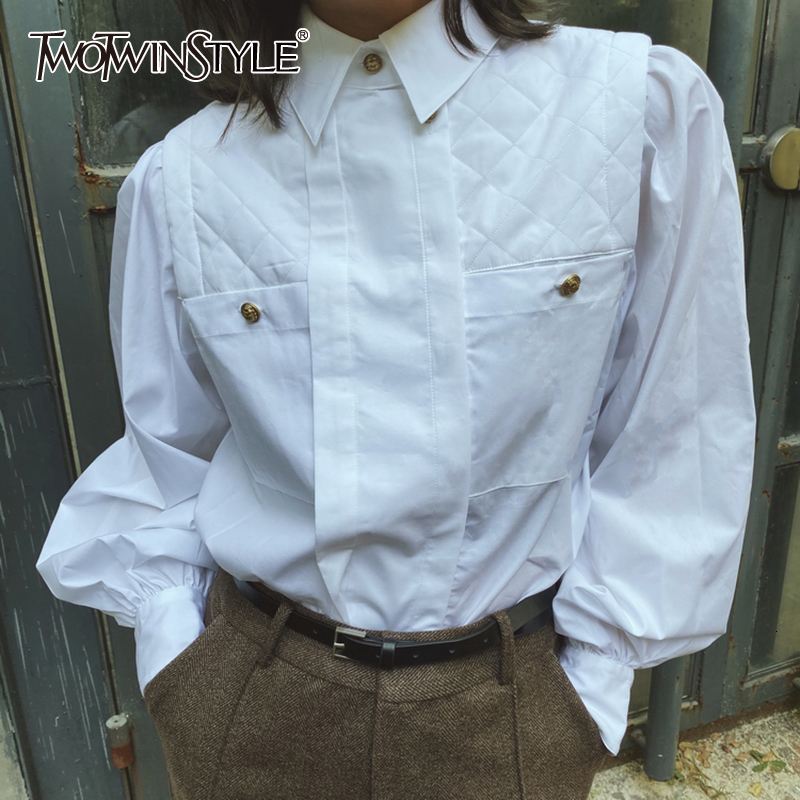 TWOTWINSTYLE Vintage Patchwork Plaid Women's Blouses Lapel Collar Lantern Long Sleeve Loose Ruched Shirts For Female Fashion New