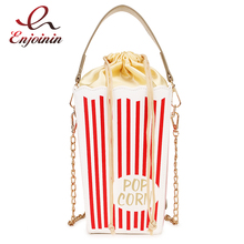 Fashion Trend Red Stripe Popcorn Bucket Design Women Shoulder Bag Tote Crossbody Purses and Handbags Tote Bag for Young Girls stylish geometric print and zipper design women s tote bag