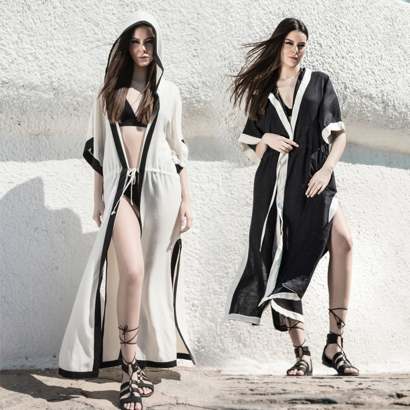Europe And America Sexy Beach Coat Long Cardigan Dress WOMEN'S Swimsuit Cover-up Holiday Coat Ployester Quick-Dry Surface