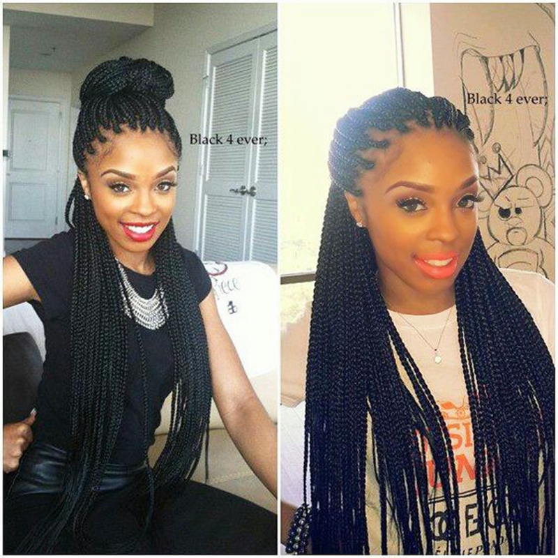 Natural Black Braided Wigs Middle Part Synthetic Lace Front Wig For Women Long Hair Box Braids Wigs With Baby Hair 24inch