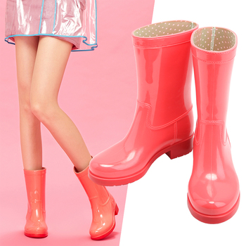 Shoes Woman Women Boots Waterproof Mid-Calf Boots Ladies Fashion Shoes Candy Colors Rain Boots Women doratasia 2018 lace up black white women boots woman shoes comfort flat heel wholesale hot sale mid calf boots shoes woman