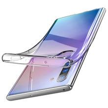 Capa de silicone transparente original, capa para samsung galaxy note 10 plus 10 + tpu macio, ultra fina note 10 pro