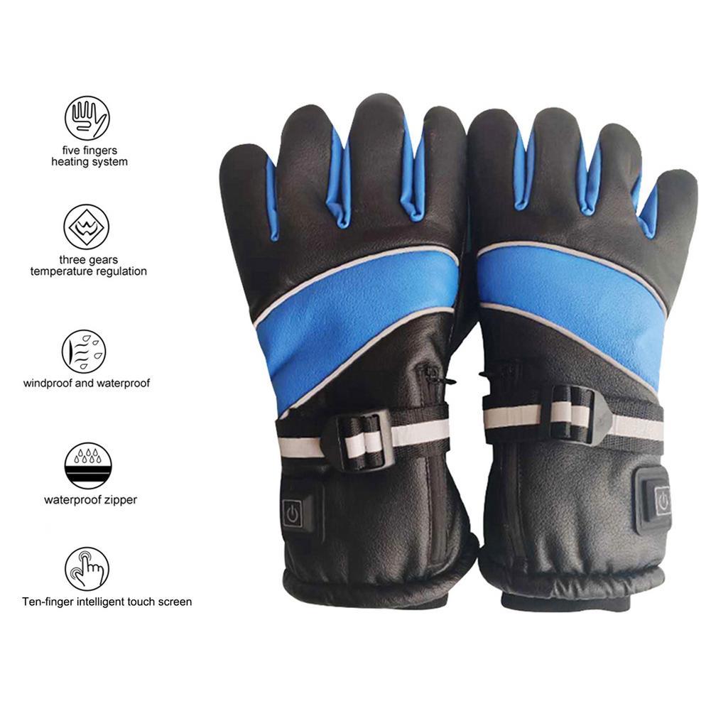 Теплые перчатки с электрическим подогревом для рук, 3000 мАч, с зарядкой аккумулятора, для защиты пальцев, для катания на лыжах, на мотоцикле, д...