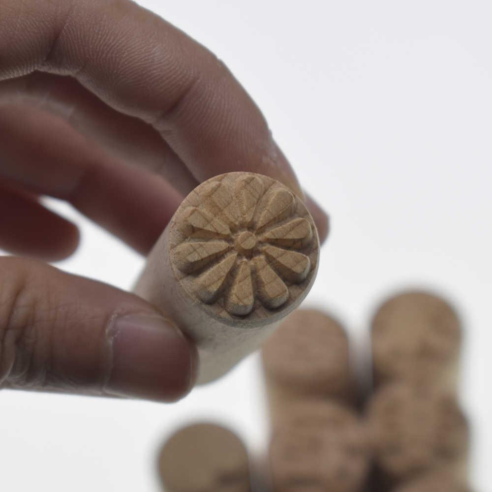 באיכות גבוהה מוצק עץ חותמת פרח עלה דפוס הבלטה פיסול מודל קרמיקה Arcilla Polimerica חרס פולימר חימר כלים