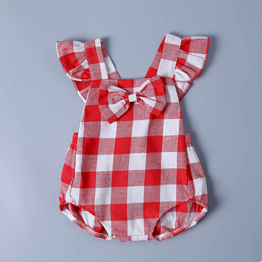 Plaid style Baby sleeveless flying sleeve plaid bow robes romper onesies Toddler Baby Romper Single-breasted Round neck romper