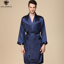 Aolamegs Men Pajamas Solid Color Silk Night Gown Thin Soft Long Sleeve Open Sleepwear Luxury Fashion Style Homewear Summer