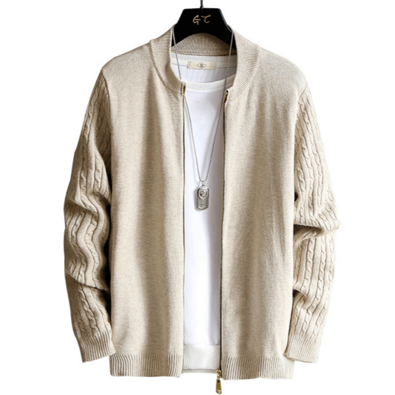 Cardigan Sweater Men's Knitted Coat Spring And Autumn Trend Tops New Style Slim Fit Handsome Gown'S Wear J973