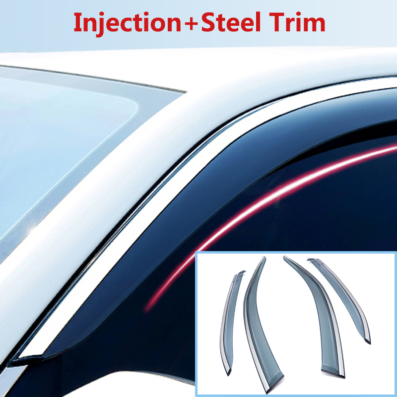 FOR NISSAN X-TRAIL XTRAIL ROGUE 2009-2020 Car Deflector Window Door Visor Steel Trim Weather Rain Sun Wind Guard,Car Accessories