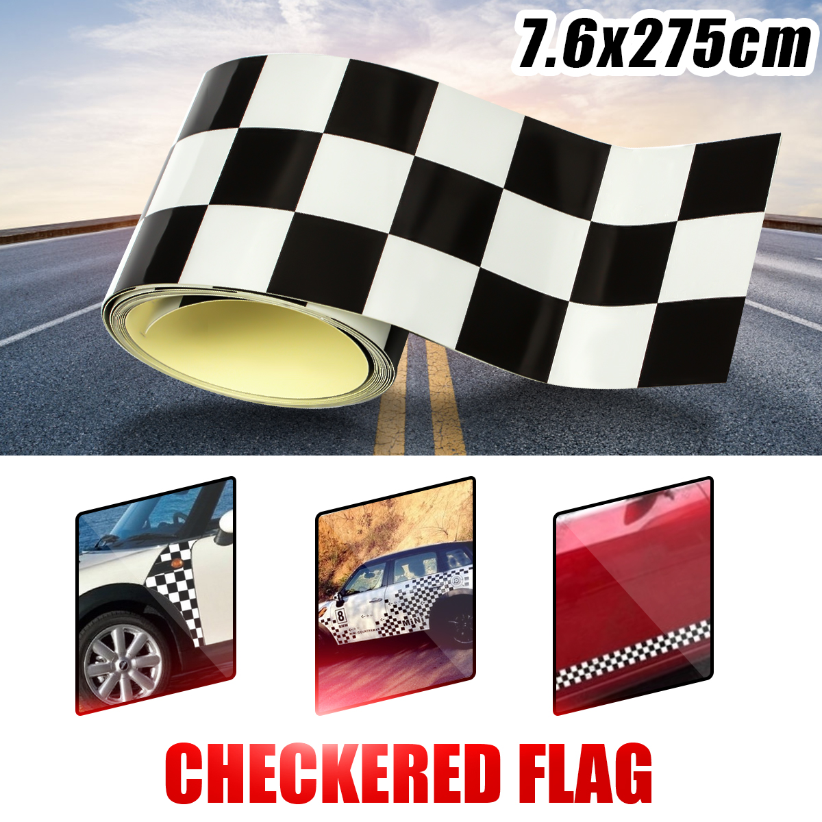 3 Inch Black/White Vinyl Checkered Flag Decal Tape Car Bike Motorcycle Tank Sticker