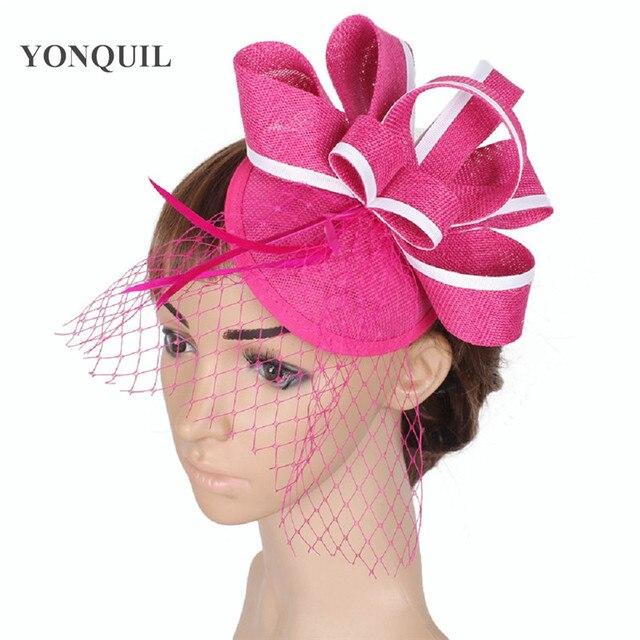 Pink Net Fascinator Headdress Flower Brooch Clip Bride Races Cocktail Party