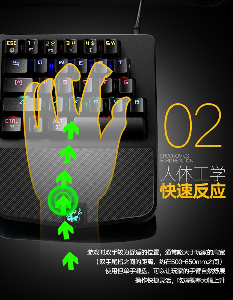 Free Wolf K9 механическая клавиатура с одной рукой, трон, трон, для путешествий, выживание, курица, Игровая клавиатура