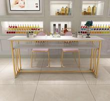 Simple and modern double solid wood nail table and chair set single double Nordic net red new golden small nail table