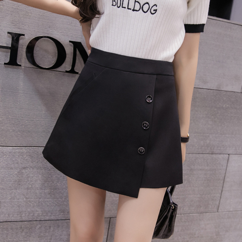2xl Autumn Summer Chiffon Shorts Skirts Women 2019 Spring Korean High Waist Plus Size Shorts For Women Solid Black Shorts Women