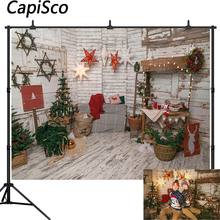Capisco Christmas Tree Wooden Board Ladder Star Baby Photography Backgrounds Customized Photographic Backdrops For Photo Studio