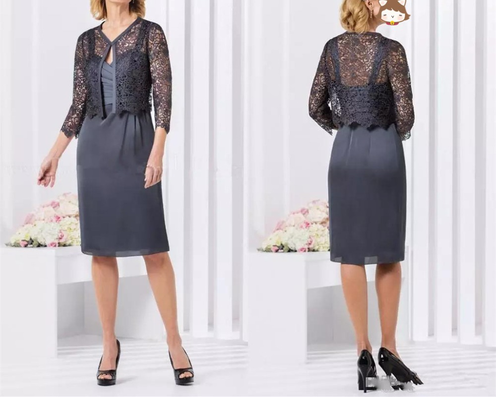 Chic Gray Mother Of The Bride Dresses With Lace Jacket 2019 Spaghetti Strap Ruched Knee Length Wedding Guest Short Prom Dress