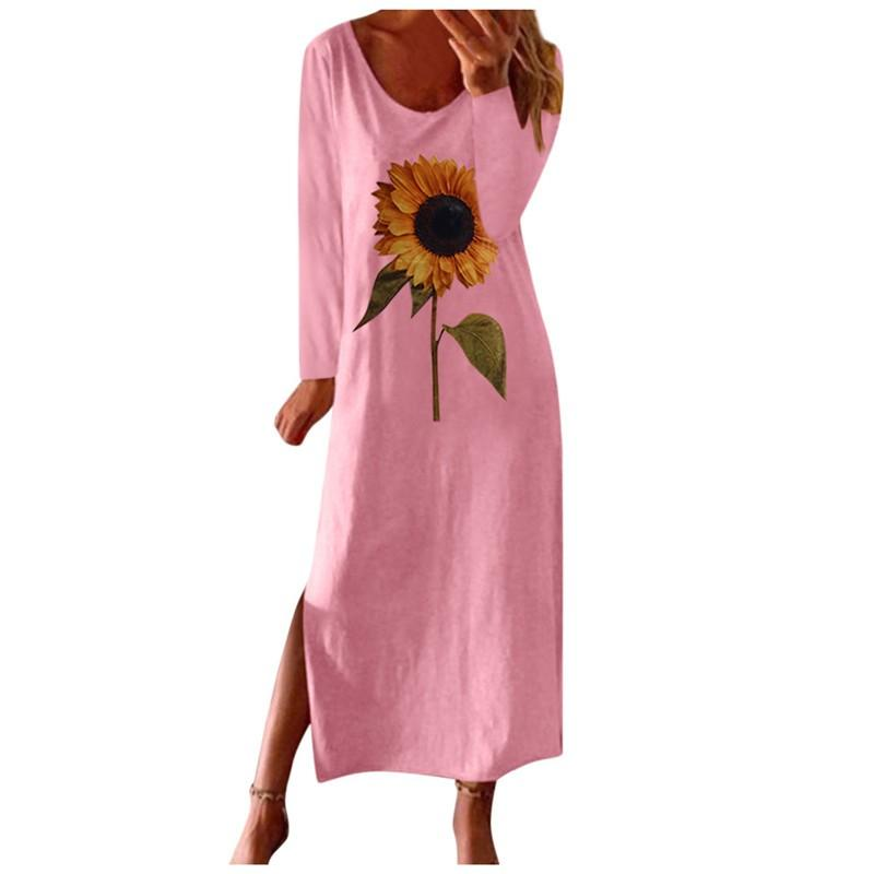 ZITY <font><b>Sunflower</b></font> Print Split Autumn Maxi <font><b>Dress</b></font> Women Elegant 2020 <font><b>Yellow</b></font> Long Sleeve Plus Size <font><b>Dresses</b></font> For Women Vestidos image