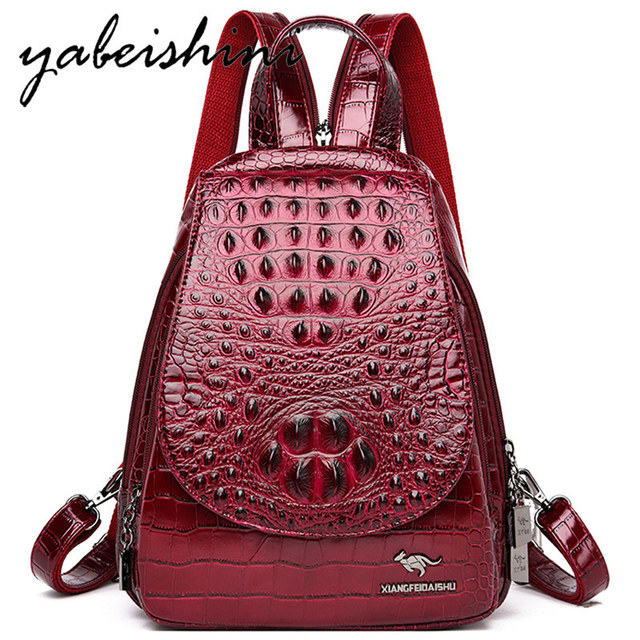 المرأة حقيبة جلدية للبنات السيدات التمساح نمط الجلد على ظهره mochila الأنثوية حقيبة السفر كيس دوس حقيبة كتف