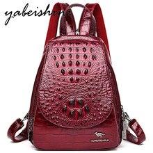 Mochila de couro feminina para meninas padrão de pele de crocodilo mochila feminina mochila de viagem saco a dos ombro